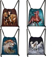 Elegent Animal Horse Print Drawstring Bag Women Men Storage Bag Fashion Rucksack Cute Pony Boys Girls Backpack Kids Bookbag Gift