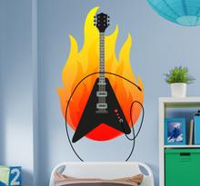 Muziek sticker gitaar met zwaar vuur