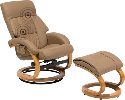 Lämmittävä Hierova nojatuoli harmaanruskea FORCE