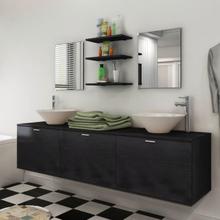 Servant og baderomsmøbler 8 deler svart