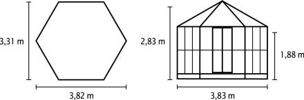 Vitavia Hera 2 9,0 m2 kasvihuone sokkelilla