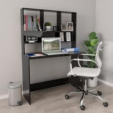 vidaXL Skrivebord med hyller høyglans svart 110x45x157 cm sponplate