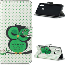 Huawei P Smart 2019 pattern leather case - Green Napping Owl