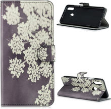 Huawei P Smart 2019 pattern leather case - White Flowers