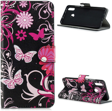 Huawei P Smart 2019 pattern leather case - Floral Butterflies