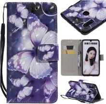 Huawei P Smart 2019 patterned leather case - Purple Butterflies