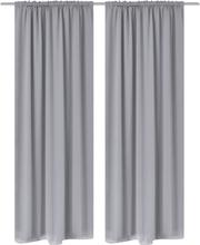 vidaXL 2-pack grå mörkläggningsgardiner med hyskupphängning 135 x 245 cm