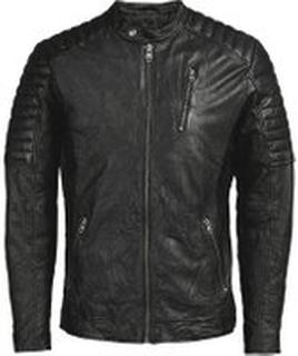 JACK & JONES Leather Biker Leather Jacket Man Svart
