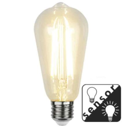 Decoration LED Klar lampa med skymningssensor E27 2100K 300lm