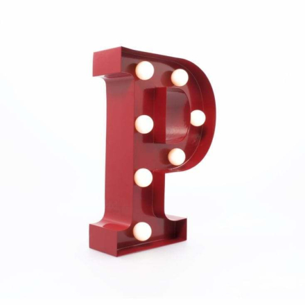 Bokstavslampa Metall Retro 'P'