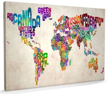 Text Art Map of the World - Canvas Kit Large