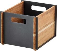 Box låda Lavagrå/teak
