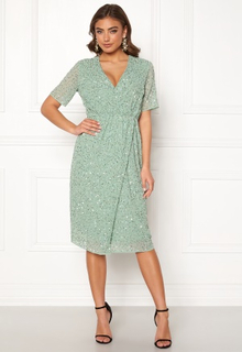 Y.A.S Beado Sequin S/S Dress Granite Green S