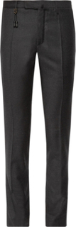 Charcoal Slim-fit Brushed-wool Trousers - Gray