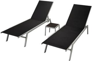 vidaXL Solsängar 2 st med bord stål och textilene svart