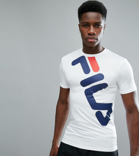 Fila Black Line Compression T-Shirt With Large Logo In White - White
