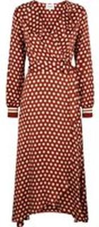 Brun Second Female Spotty Wrap Dress Kjole