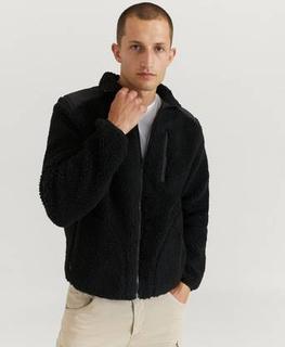 Studio Total Genser Contrast Pile Jacket Svart