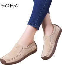 EOFK Autumn Fall Women Moccasins Women's Flats Genuine Leather Shoes Woman Lady Loafers Shoes Mocasines Mujer Slip on Suede