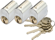 Cylinder Millers 7-Stift-Ll Mattmässing 3-Pack Med 5 Nycklar