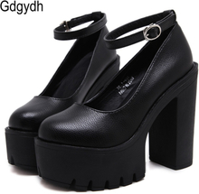 Gdgydh 2020 new spring autumn casual high-heeled shoes sexy ruslana korshunova thick heels platform pumps Black White Size 42