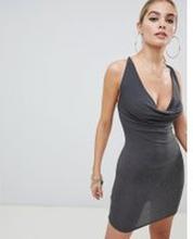 Fashionkilla - Glittrig mörkgrå klänning med axelband och vid polokrage -  Kolfärgad ba6a40659f9cc