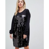 French Connection - Sweatshirtklänning i oversize-modell med paljetter - Svart