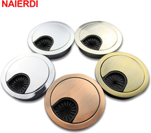 NAIERDI Zinc Alloy Desk Wire Hole Cover Base Computer Grommet Table Cable Outlet Port Surface Line Box Furniture Hardware
