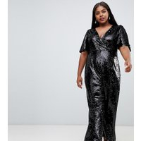 Fashion Union jumpsuit med paljetter i plusstorlek - Black sequin