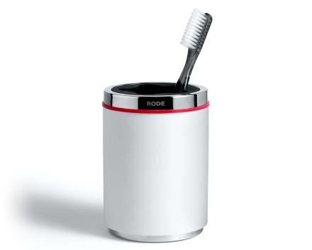 Rode tannbørsteholder hvit