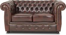 Dublin chesterfield 2-sits soffa - Brunt läder