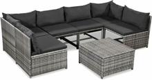 vidaXL Loungegrupp för trädgården med dynor 7 delar konstrotting grå