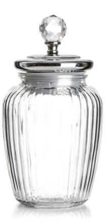 Madame glasskrukke H:28 cm sølvlokk