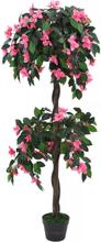 vidaXL Konstväxt rhododendron med kruka 155 cm grön och rosa
