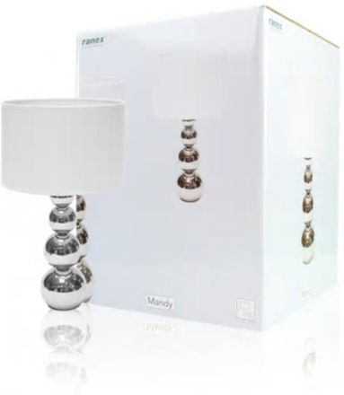 Ranex Bordslampa med Touchfunktion - 40W, Krom / Vit