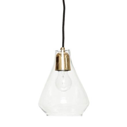 Hübsch Lampe Messing / Glass Sort Ledning