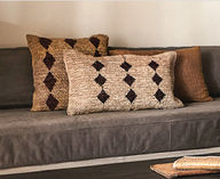 Raffia tyynyn päällinen | Mustalla kuvioinnilla 70x40cm