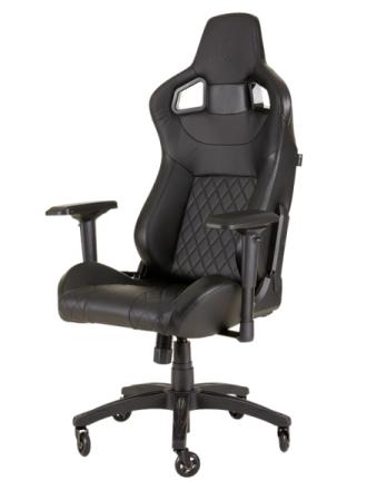 T1 RACE 2018 Gaming Chair - Black Krzes?o gamingowe - Czarny - Skóra PU - Do 120 kg