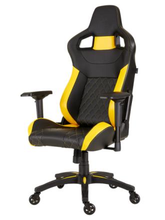 T1 RACE 2018 Gaming Chair - Yellow Krzes?o gamingowe - Czarno-?ó?ty - Skóra PU - Do 120 kg