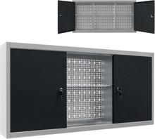 vidaXL Väggmonterat verktygsskåp industriell stil metall grå och svart
