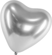 Ballonger Latex Hjärta Silver | Chrome | Reflex | Shiny | Mirror