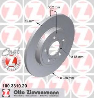 Bremseskive ZIMMERMANN 100.3310.20