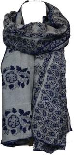 Silketørklæde Sarong Blue n Grey