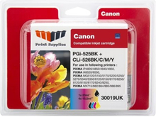 MM Print Supplies 30019UK Value Pack - 5-pack - svart, gul, cyan, magenta - compatible - blister - blekkpatron - for Canon PIXMA iP4950, iX6550, MG53