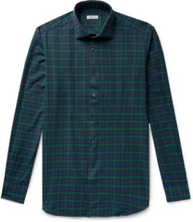Ween Slim-fit Cutaway-collar Checked Cotton-flannel Shirt - Navy