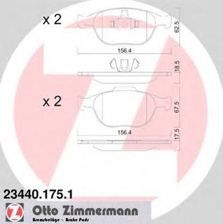 Bromsbeläggssats, skivbroms ZIMMERMANN 23440.175.1