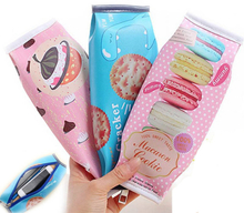 Korea Fun Macaron Cookies Pencil Bags Creative Stationery Students PU Leather Snack Pencil Case Give to Children Birthday Gift