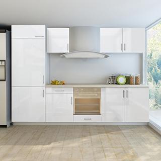 vidaXL køkkenskabsenhed indbygget køleskab 7 dele 270 cm højglans hvid