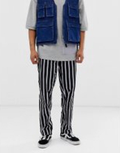 Obey Easy striped pants in black/white - Stripe black multi
