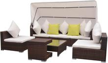 vidaXL Loungegrupp med soltak 7 delar konstrotting brun